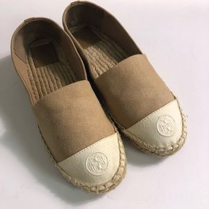 Tory Burch two tone canvas espadrilles size 8